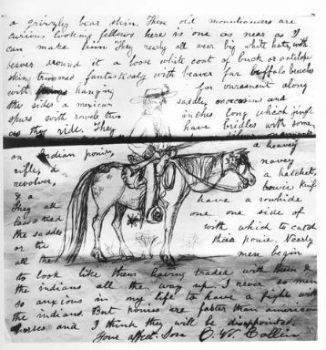 Letter with drawing of a horse