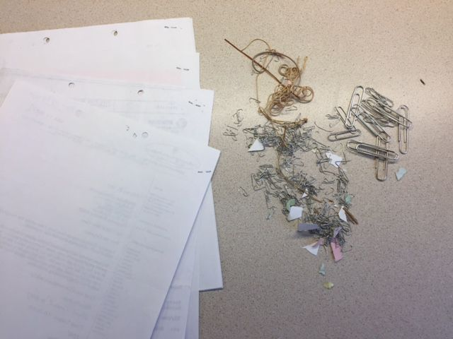 Remove-all-paper-clips-staples-and-rubber-bands